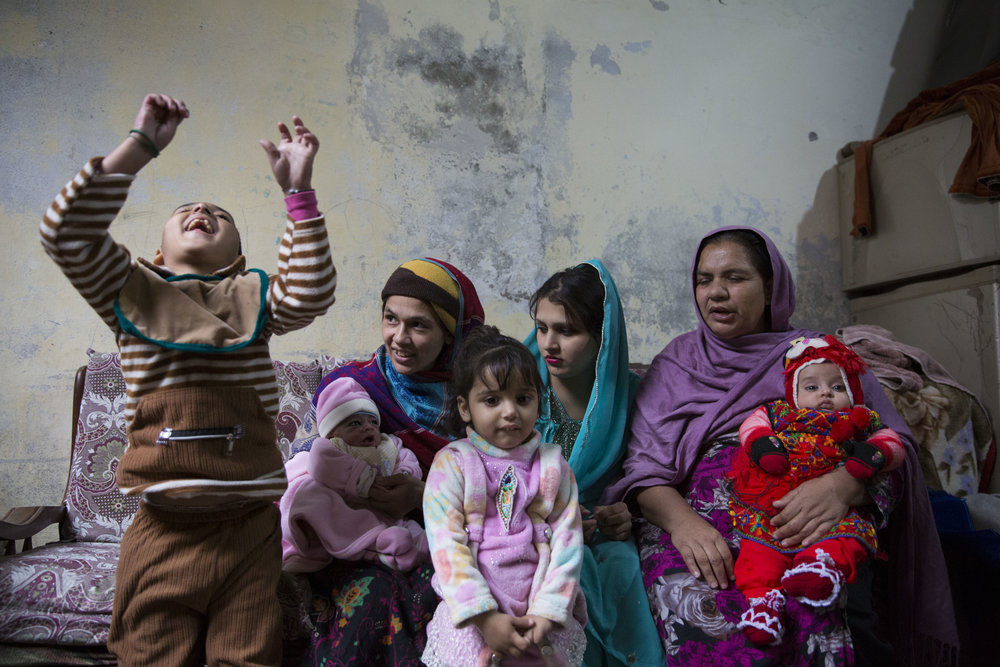 Sobia Sajid along with her children and in-laws at their residence after nine days since her delivery where she suffered from postpartum haemorrhaging and was given Tranxamin.