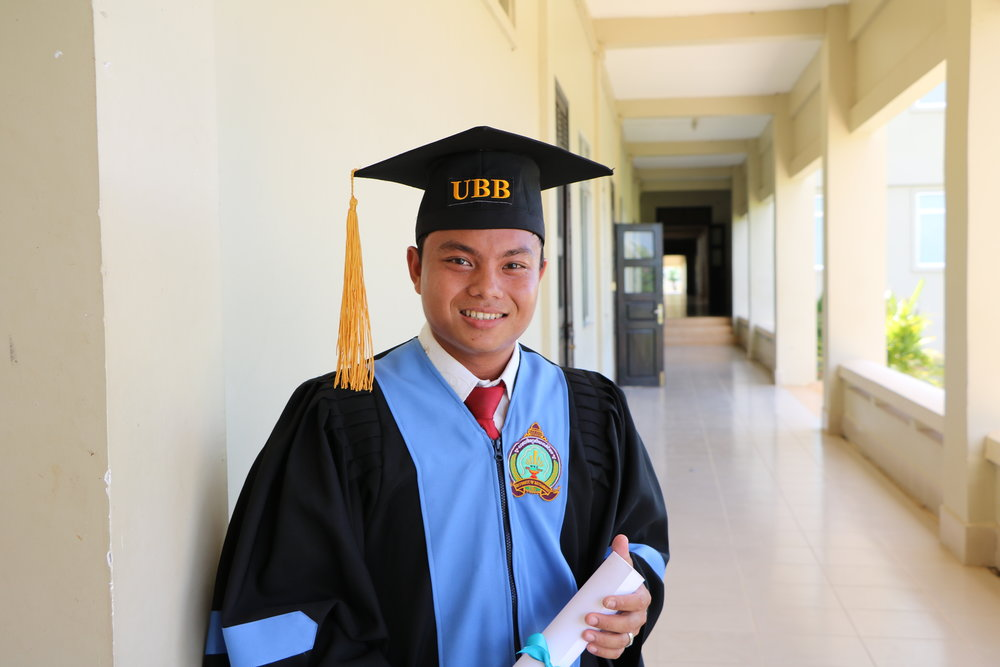 Samath at his 2016 graduation from University of Battambang