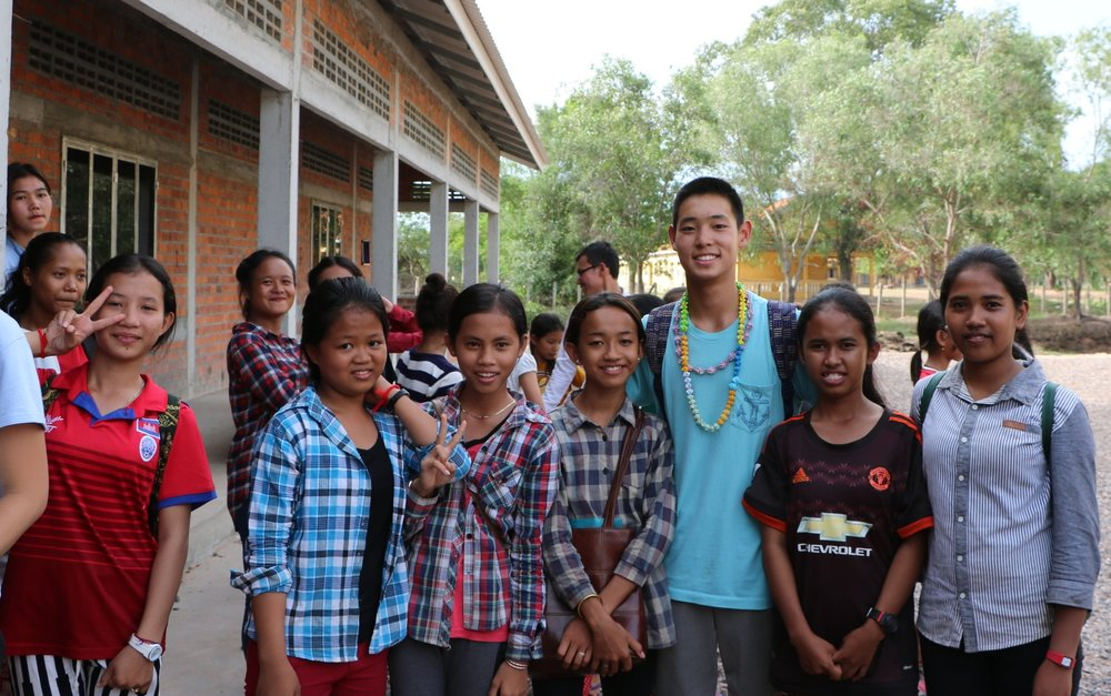 Derek Chiang, President of the New York TASSEL chapter with his students at the Samrang TASSEL school during his 2016 summer trip to Cambodia.