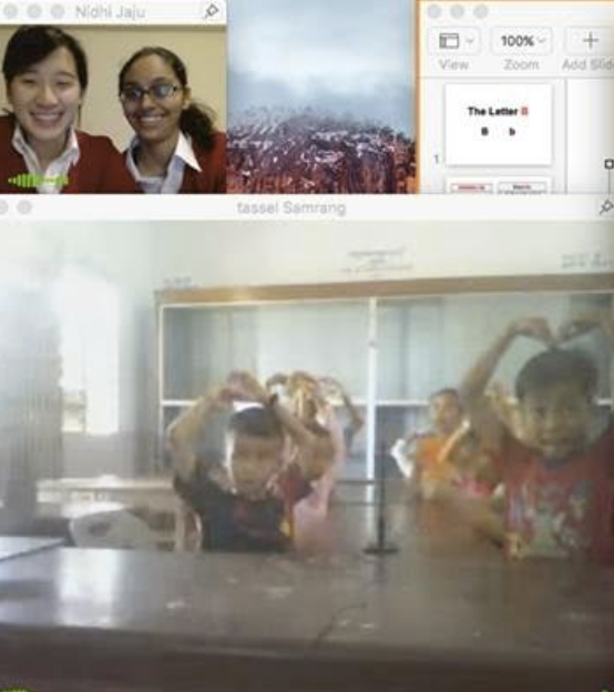 TASSEL volunteers Shuli Ko and Nidhi Jaju teaching their class in Samrang via VSee.