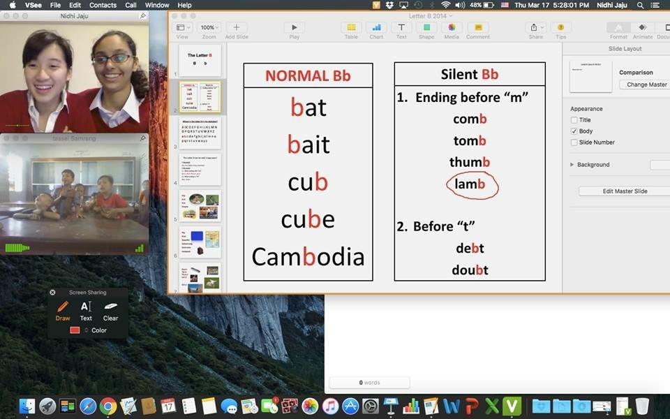 Seisen's Shuli Ko and Nidhi Jaju teaching their Samrang TASSEL class via VSee.