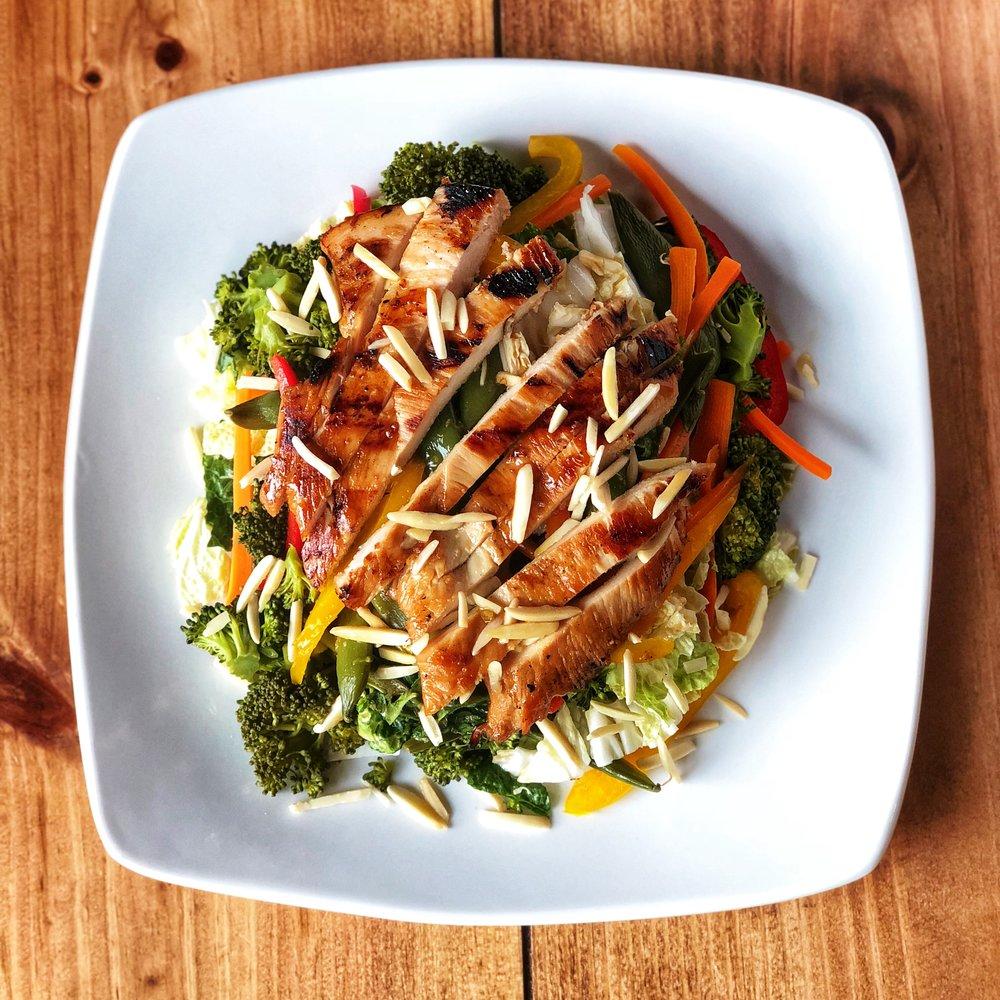 Teriyaki Chicken over Napa Cabbage Salad