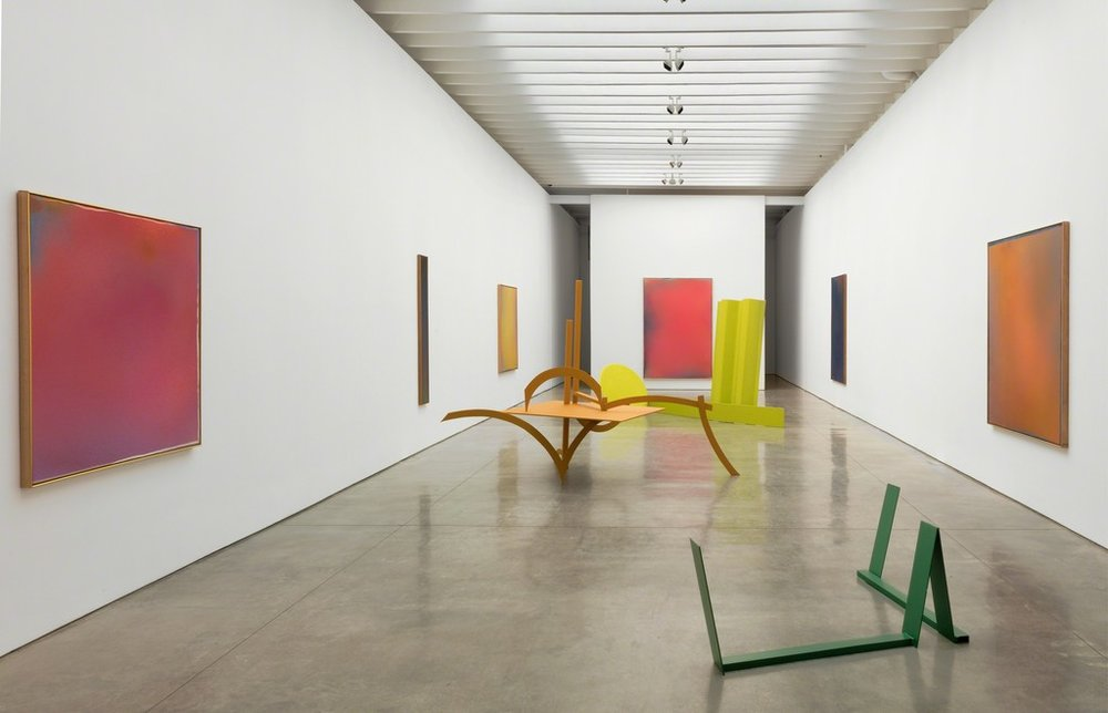 "Installation view of  ""Caro & Olitski: 1965–1968, Painted Sculptures and the Bennington Sprays"" at Paul Kasmin Gallery"