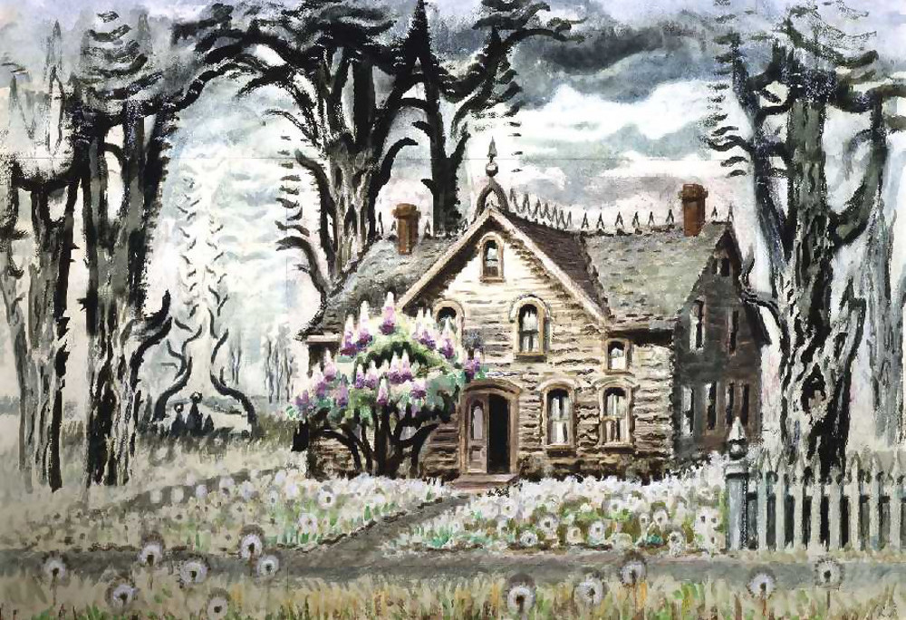 Charles Burchfield , Lilacs No. 2,  1963 ,  Watercolor on pieced paper ,  Paul Kasmin Gallery