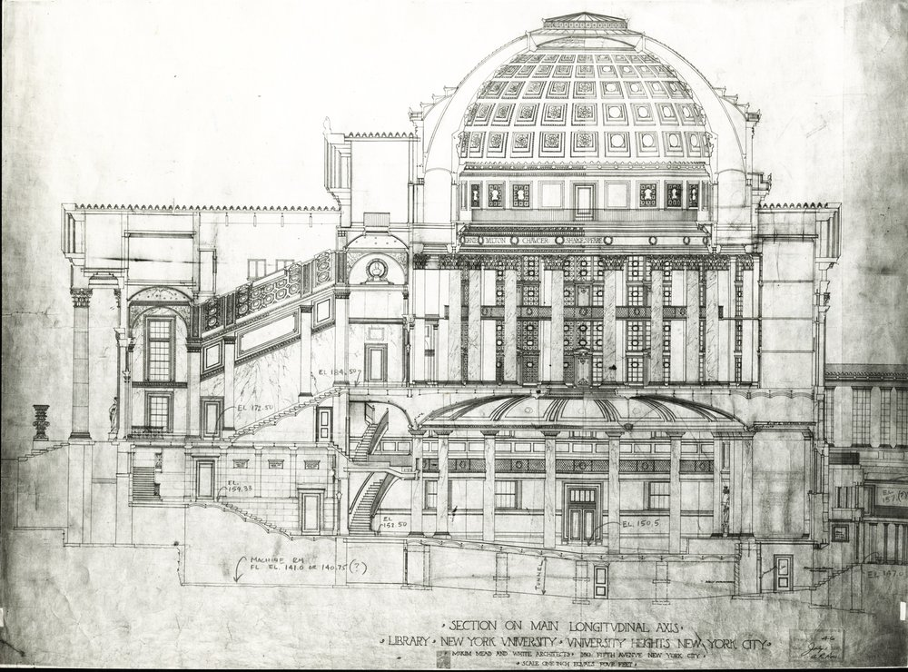 McKim, Mead & White original architectural plans for Gould Memorial Library. Photo: New York University Archives