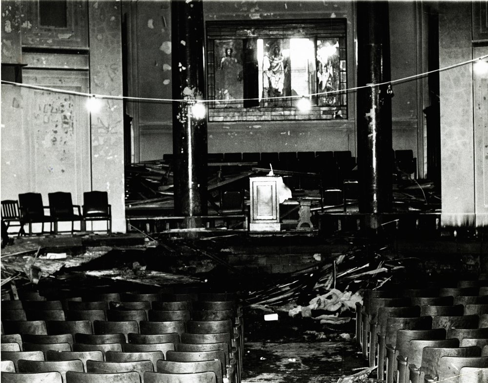 The auditorium of Gould Memorial Library in 1969, after being firebombed during student protests. Photo: New York University Archives