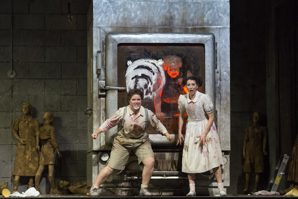 Lisette Oropesa and Tara Erraught in  Hansel and Gretel . Photo: Marty Sohl / Metropolitan Opera