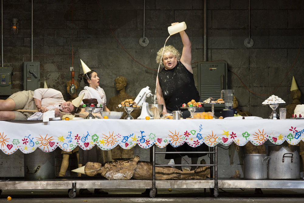 Lisette Oropesa, Tara Erraught ,  and Gerhard Siegel in  Hansel and Gretel . Photo: Marty Sohl / Metropolitan Opera