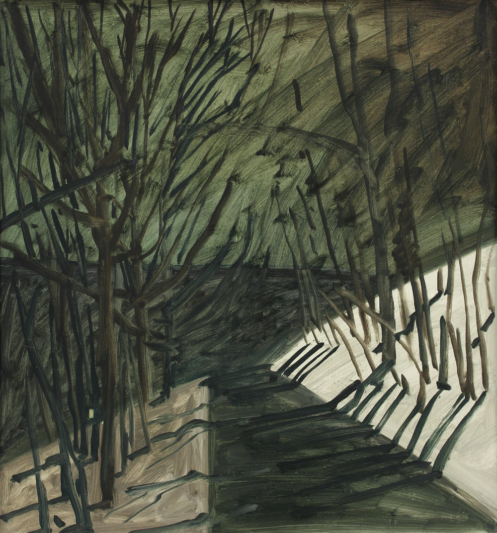 Lois Dodd , Moonlit Road, NJ,  1976 ,  Oil on masonite ,  Alexandre Gallery.