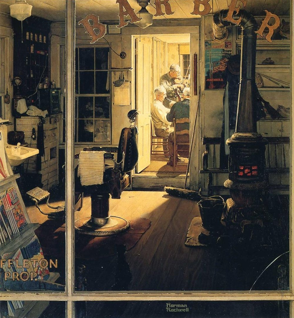 Norman Rockwell , Shuffleton's Barbershop,  1950 ,   Oil on canvas ,  Sotheby's