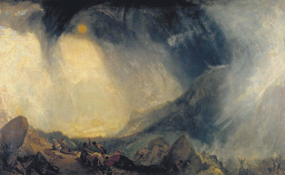 Joseph Mallord William Turner , Snow Storm: Hannibal and His Army Crossing the Alps,  1812 ,  Oil on canvas ,  Tate Britain, London.