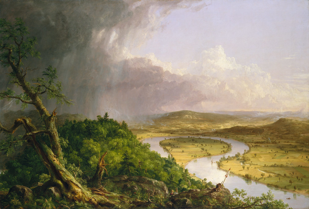 Thomas Cole , View from Mount Holyoke, Northampton, Massachusetts, after a Thunderstorm—The Oxbow,  1836 ,  Oil on canvas ,  The Metropolitan Museum of Art.