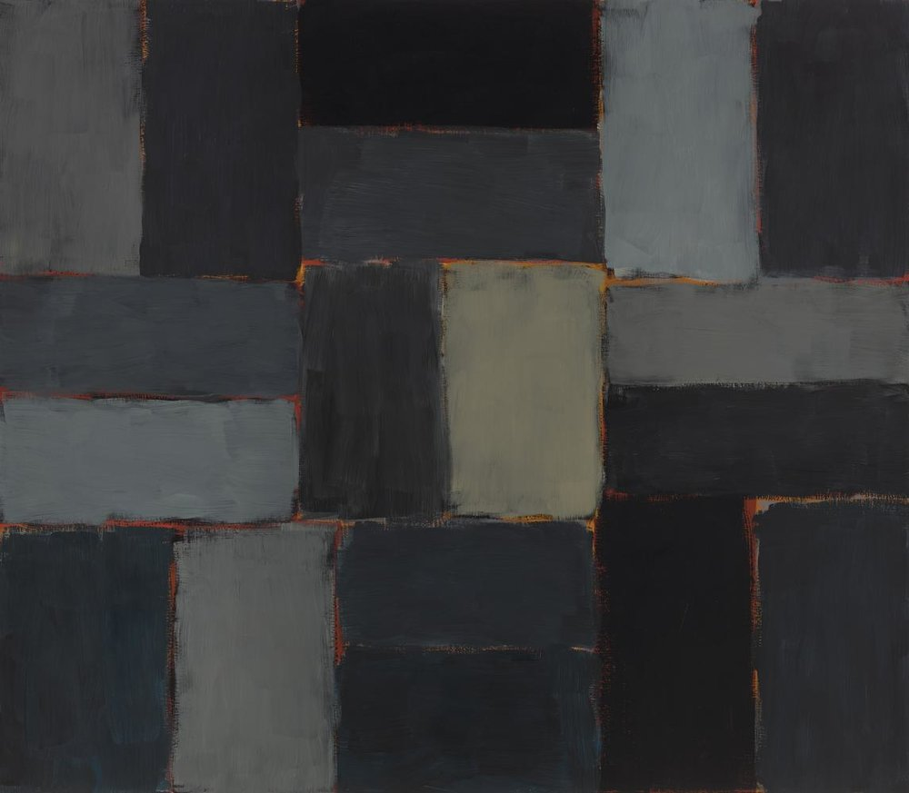 Sean Scully , Night,  2003 ,  Oil on linen ,  Mnuchin Gallery .