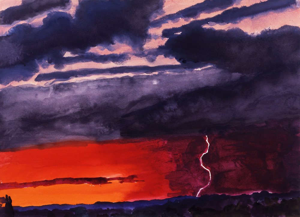 Graham Nickson , Red Lightning Sunset I,  2005 ,  Watercolor on paper ,  Courtesy of The William Louis-Dreyfus Foundation Inc.