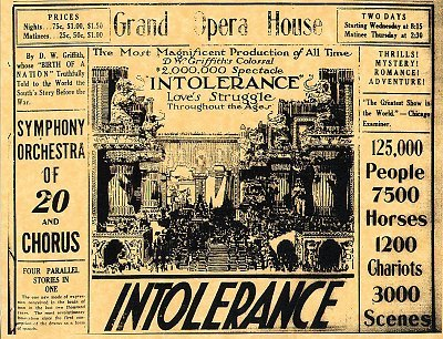 DW Griffith's masterpiece Intolerance was a major event at the Grand
