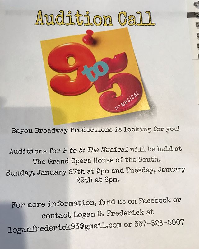 Auditions @crowleyopera  for '9 to 5 the musical '