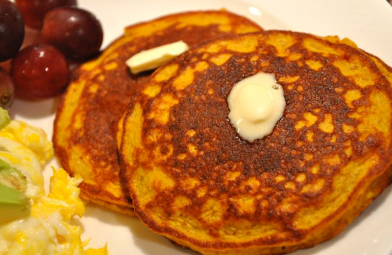 634ed4a68c4a42 Enjoy these tasty pumpkin pancakes without guilt. Made with almond meal and  packed with protein from eggs