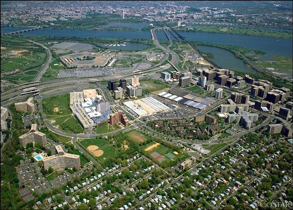 Historic aerial view of Pentagon City, with the three RiverHouse buildings situated on the lower left hand side.