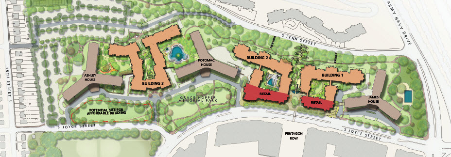 Development Option 1:  933 residential units and 29,900 SF of retail