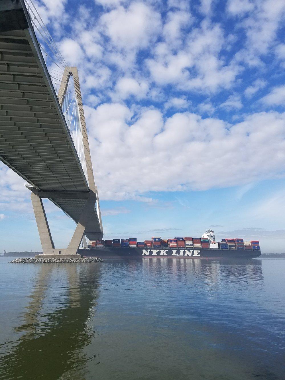 Container ship under the Ravenel Bridge