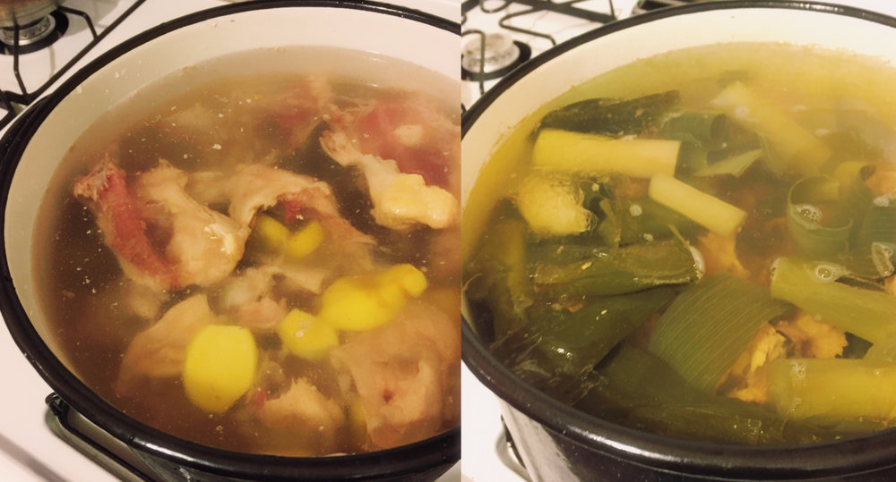 Organic, grass-fed chicken bones, gingers, and leeks are in the pot ↑