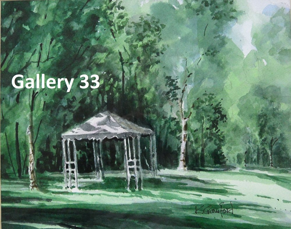 "Ken Crawford    ""Hazelwood Gazebo""    watercolour, framed $70.00"