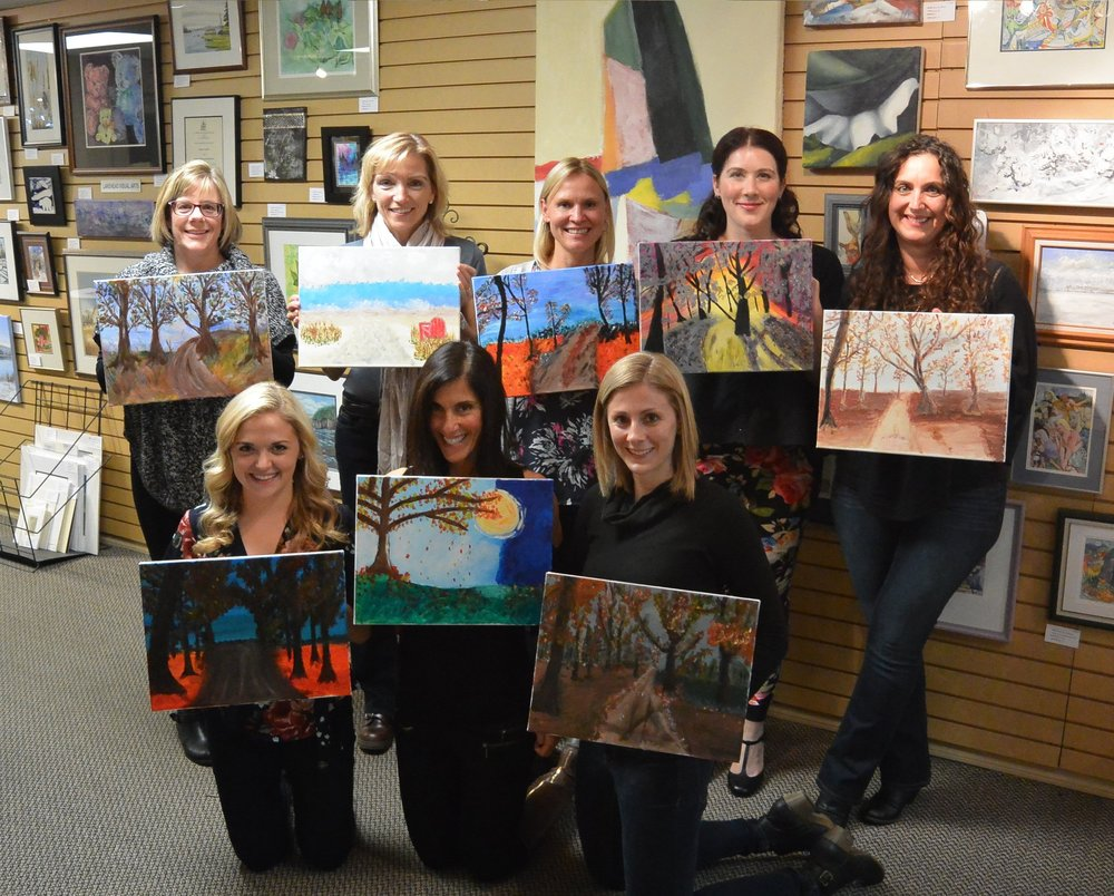 Up to 12 people! Come have some stress-free fun painting and sipping!