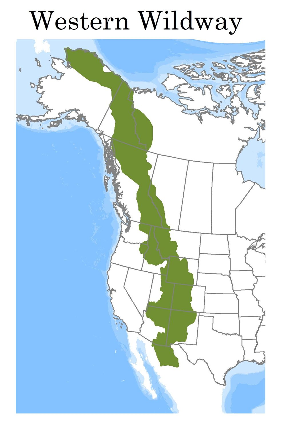 Western Wildlway  -  Click to enlarge map and see the different Wildland Networks along the Wildway!