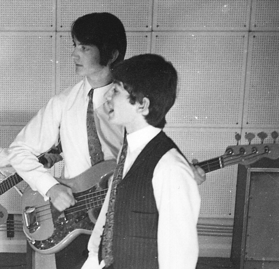 - This is the early Fender Precision with a Telecaster headstock.Pictured with me is the very talented Chris Black who went on to be a long-serving member of Mike Pender's Searchers.