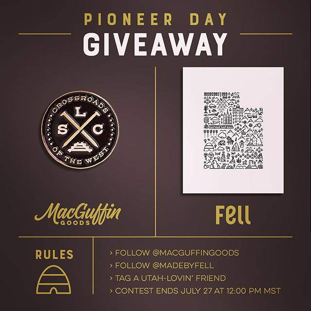 """🐝GIVEAWAY 🐝 Hey, Utah peeps! We've teamed up with another local shop @macguffingoods for a Pioneer Day-themed giveaway! Here's what you can win: › MacGuffin's SLC Crossroads 1"""" enamel pin › Our Map of Utah 8"""" x 10"""" archival print.  THE RULES: › Follow @macguffingoods › Follow @madebyfell › Tag a Utah-lovin' friend (in either feed) › One entry per person #giveaway #saltlakecity #utah #pioneerdayea #enamelpin #artprint"""