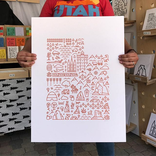 Brand new to the shop! Printed with copper metallic ink on French Paper Speckletone True White by @copperpalatepress . Come by @craftlakecity to get one or sign up to win one! We'll have them online soon too! #mapofutah #screenprint #lineart