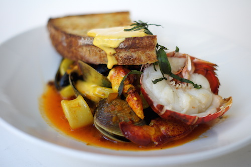 Lobster Cioppino, Tomato Broth, Grilled Sourdough, Saffron Rouille