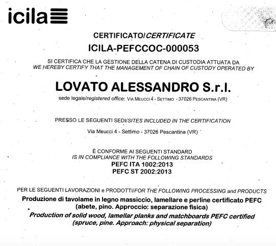 Provenienza del Legno - ICILA-PEFCCOC-000053