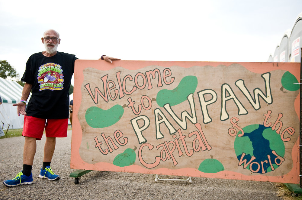 "The Pawpaw Capital of the world! This fella was so excited about the fest, he asked to be a part of the ""sign photo"". Love it! Photo by  Michelle Waters"