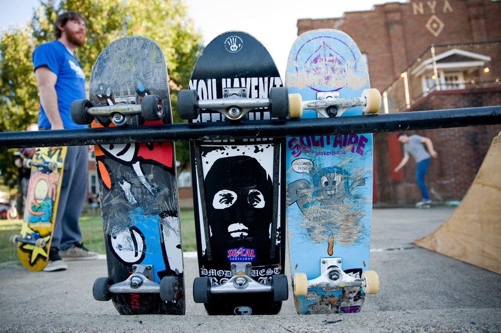 Skateboards are not only a tool for expression through movement, they also are a canvas to decorate. Photo by Michelle Waters.