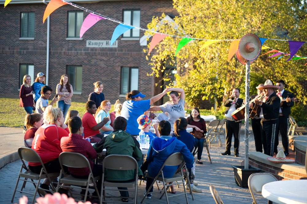 OVU was inspired to dance during Mariachi Guadalajara's fiesta performance. Several of the students noted they'd never heard a Mariachi performance, before. The first guests included students, teachers, staff and local community members and families. Photo by Michelle Waters.