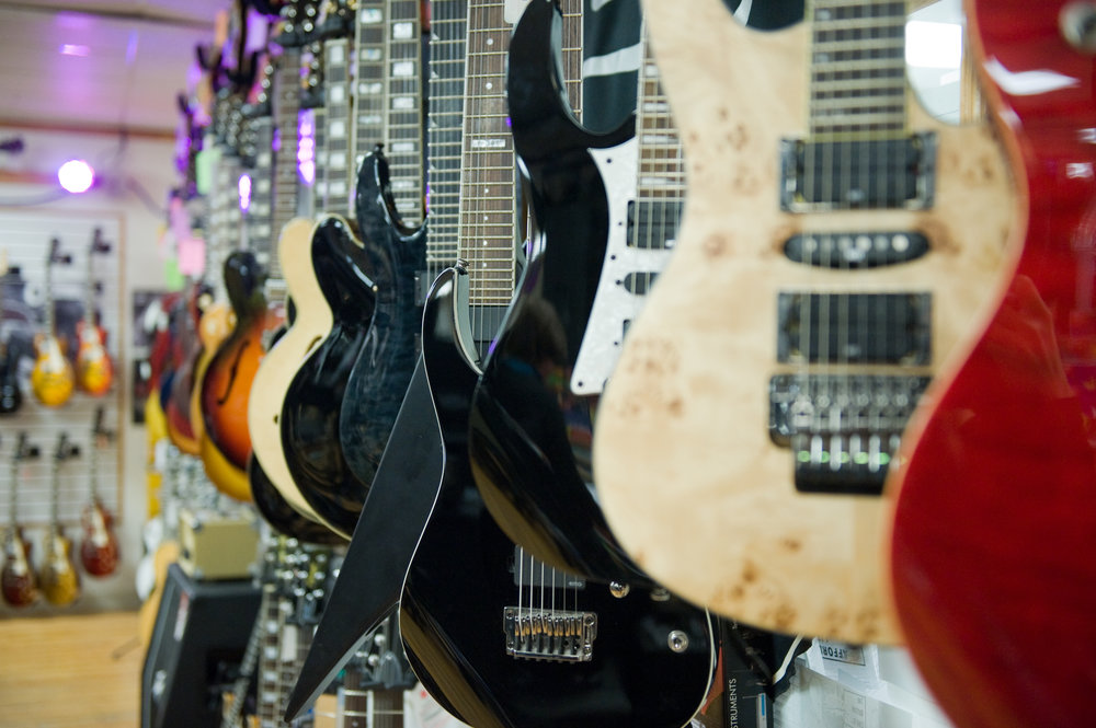 CA House Music  has a great selection of guitars, as well as a wide variety of other instruments, and very friendly and helpful staff.