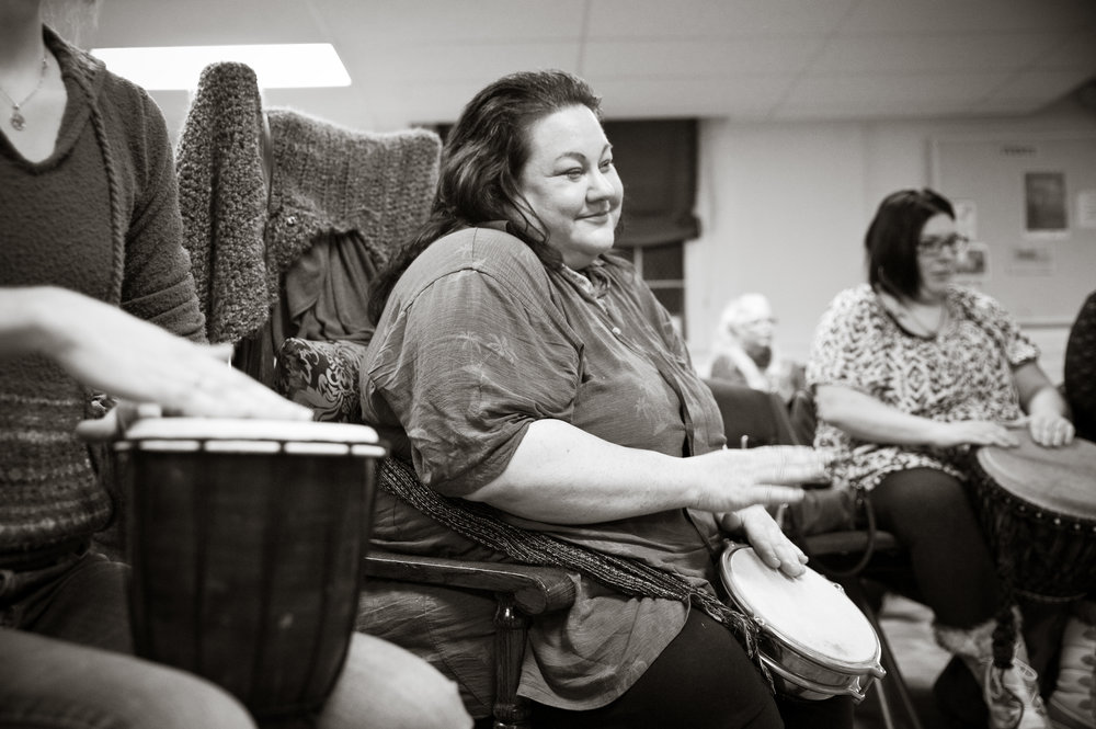 Laura Serna-Maytoren created this drum circle event, to help build up the positive energy in our hurting community. Photo by Michelle Waters.