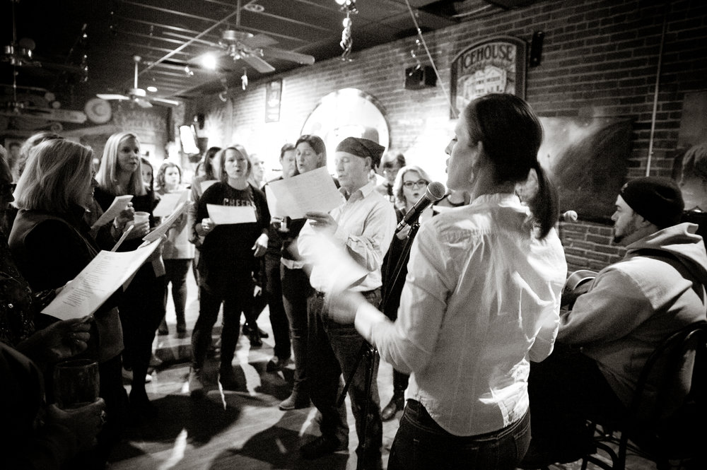 Audience participation is highly encouraged at  ChoirNow WV . This week, join the gang at  Sam's Uptown Cafe  while they sing  Hallelujah  in several part harmony! Learn more about ChoirNow in an upcoming story, this week. Photo by  Michelle Waters .