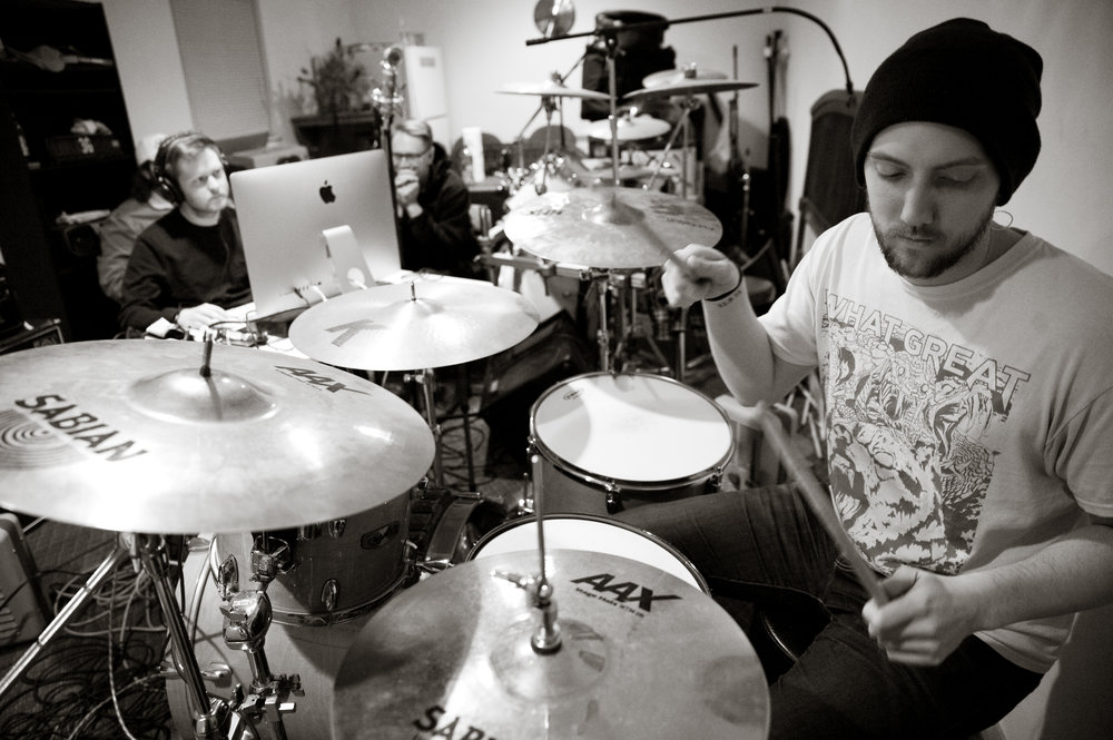 Casey Hardman during recording, by Michelle Waters.