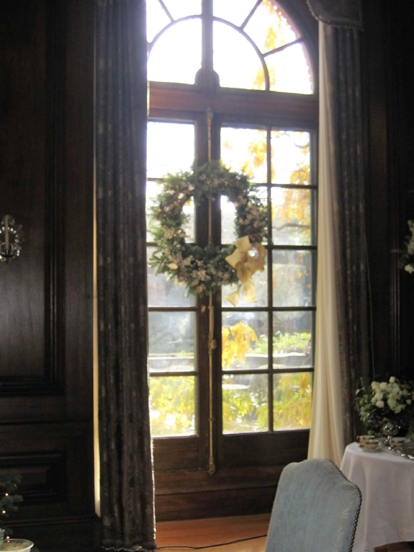 Look at the beautiful French doors, hardware and the fall garden beckoning outside.