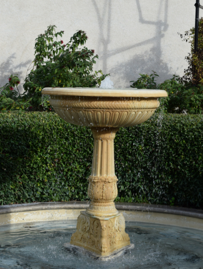 Rose garden fountain.