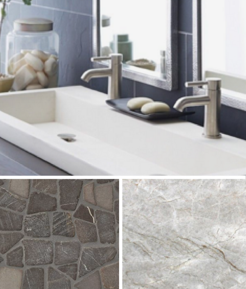 Here is a pic of part of a materials collage for the room, showing the counter and shower pan tile materials up close along with the sink.