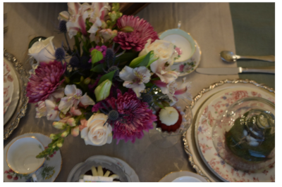 Here are the floral arrangements from above.  I loved the colors, and they were a perfect match to the chintz china.
