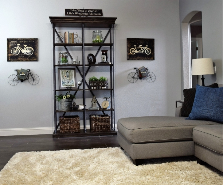 Iron and Wood Shelving with Country Accents