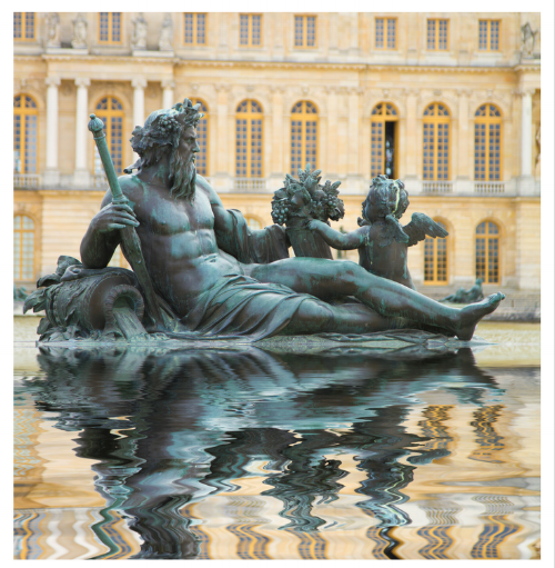 I love the movement created by the zig zag reflection in the water from this statue at Versaille. It is like a beautiful painting.