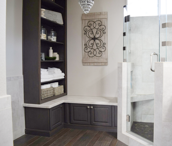 Gray-Stained-Built-in Bathroom-Shelving