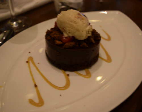 For dessert, chocolate ganache with hazelnut cream and fresh raspberries. It was rich and delicious!