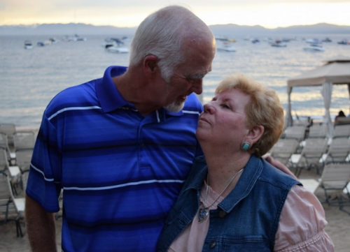 Here's the happy couple with view of Lake Tahoe in the background.