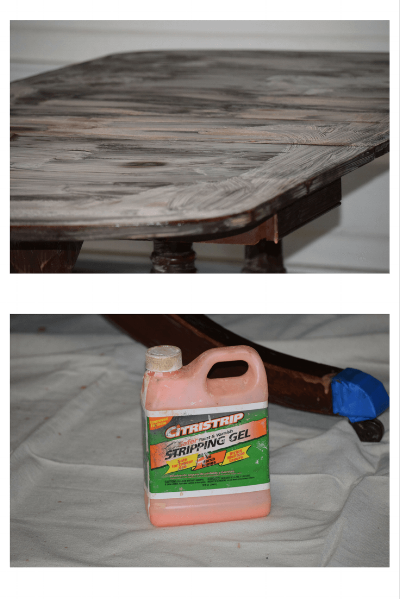 Here is a picture of the gel applied to the top of the table. I also taped off the table feet covers to protect them.